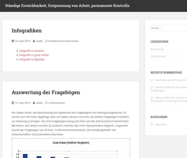 """Screenshot des Blogs """"Ständige ErreicBlog: """"Ständige Erreichbarkeit, Entgrenzung von Arbeit, permanente Kontrolle: digitale Arbeit zwischen Humanisierung und Sklaverei"""""""