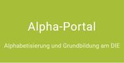 """Das Bild zeigt den Schriftzug """"Alpha-Portal""""."""