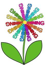 """Das Bild zeigt eine Blume, deren Blätter aus dem Wort """"Learning"""" bestehen."""