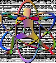 Die Grafik zeigt einen Menschen im Ausfallschritt und Kreise um ihn herum in Form eines Atoms.