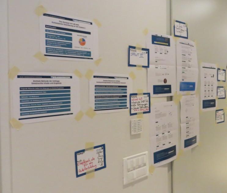 Whiteboard mit Konzeptentwürfen
