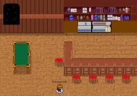 Das Bild zeigt einen Screenshot aus dem Interaktionstool gather.town. Eine Pixeldarstellung zeigt einen Barschrank, eine Theke mit Stühlen und ein Billiardtisch.