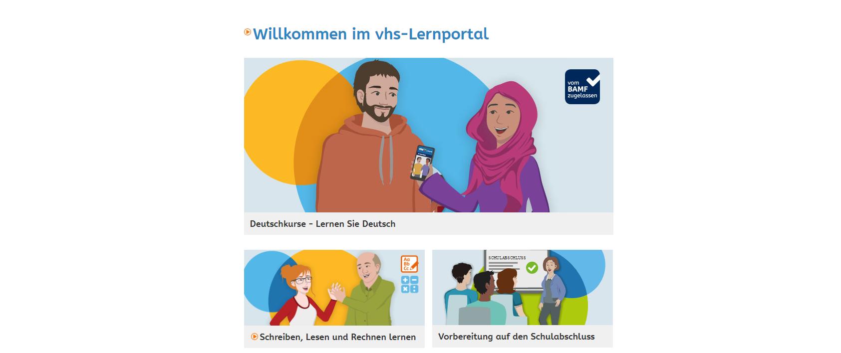 Screenshot des vhs-Lernportals