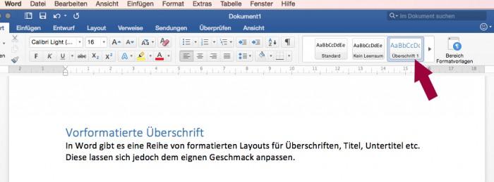 Screenshot: In Word Überschriften festlegen