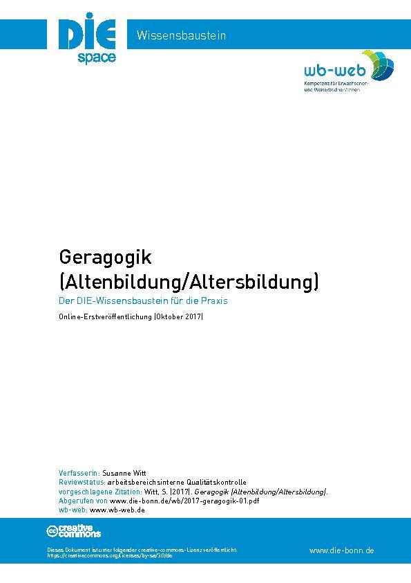 Titelblatt Wissensbaustein Geragogik
