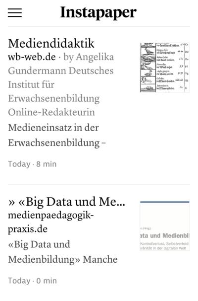 Screenshot Instapaper Beiträge