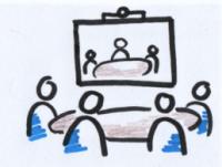 Das Bild zeigt vier gezeichnete Figuren, die an einem Tisch zusammensitzen. Im Hitnergrund sind auf einer Leinwand drei weitere Personen an einem Tisch abgebildet.