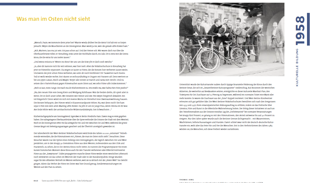 Doppelseite zum Jahr 1958: 100 Jahre Volkshochschule