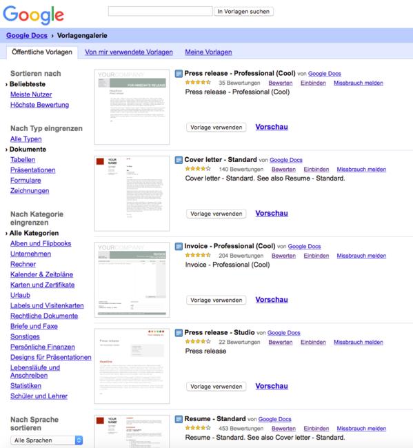 Google G Suite Tutorial Vorlagen Bzw Templates 1