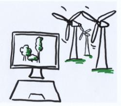 DAs  Bild zeigt einen gezeichneten Computer, auf dessen Bildschirm grüne Bäume abgebildet sind. Im Hintergrund stehen drei Windräder.