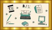 """Das Bild zeigt einen goldenen Rahmen, in dem sich verschiedene Piktogramme wie Stifte, ein Computer, ein Buch oder ein Arbeitsblatt um den Begriff """"Texte"""" herumgruppieren."""