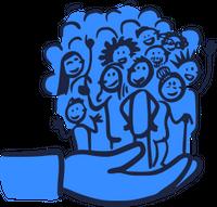 Das Bild zeigt eine Menge Strichmännchen, die als Gruppe in einer großen gezeichneten Hand stehen.