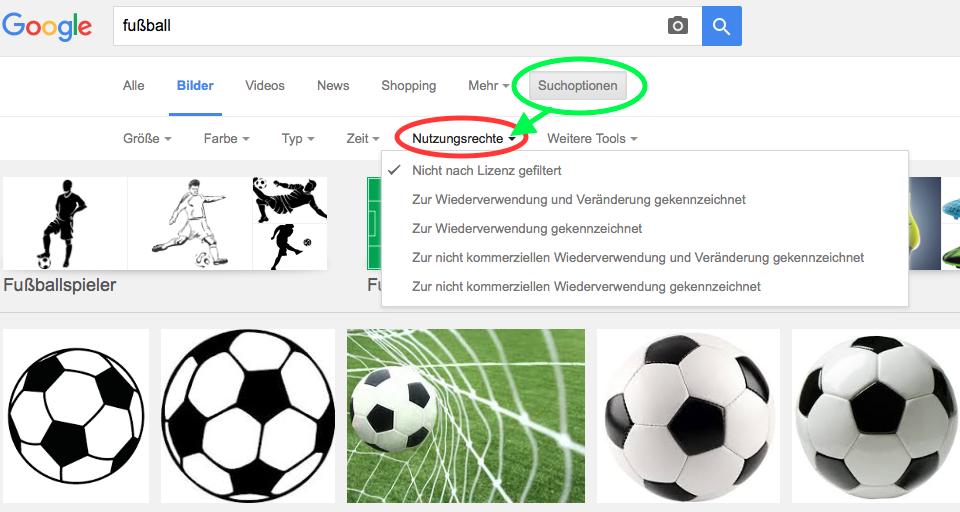 Screenshot mit Suchergebnissen