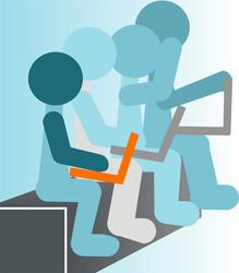 Vier gezeichnete Männchen sitzen auf einer Bank mit Laptops auf ihrem Schoß