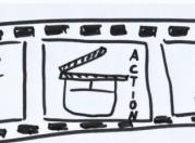 Das Bild zeigt einen gemalten Filmstreifen, mit einer Filmklappe darauf.