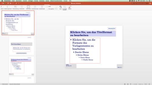 """Beispiel für eine """"Folienmasteransicht"""" in PowerPoint"""