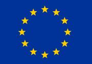 Das Bild zeigt einen Kreis gelber Sterne auf blauem Grund.