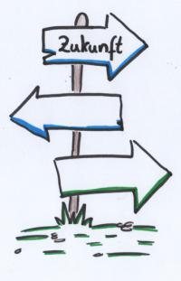 """Das Bild zeigt einen gezeichneten Wegweiser, auf dem """"Zukunft"""" steht."""