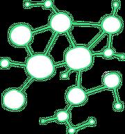Das Bild zeigt schematische Vernetzung von verschiedenen weißen und leeren Kreisen.
