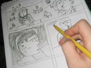 Zeichnen eines Comics per Hand