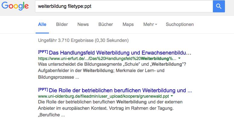 Screenshot einer Google-Suche