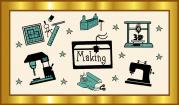 """Das Bild zeigt einen goldenen Rahmen, in dem sich verschiedene Piktogramme wie eine Bohrmaschine, eine Nähmaschine, Schere, Papier oder Hobel um den Begriff """"Making"""" herumgruppieren."""
