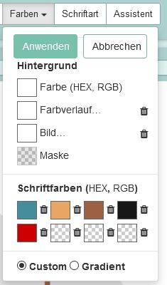 Das Bild zeigt die Eingabemöglichkeit für selbst zu definierende Farbtöne.