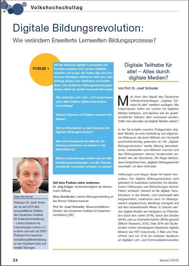 Erste Seite des Artikels von Prof. Josef Schrader