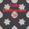 Sterne und Kugeln mit Ziffer 24 und Schriftzug Frohe Weihnachten