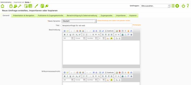 Das Bild zeigt einen Screenshot, wie man im LimeSurvey eine Umfrage anlegt.