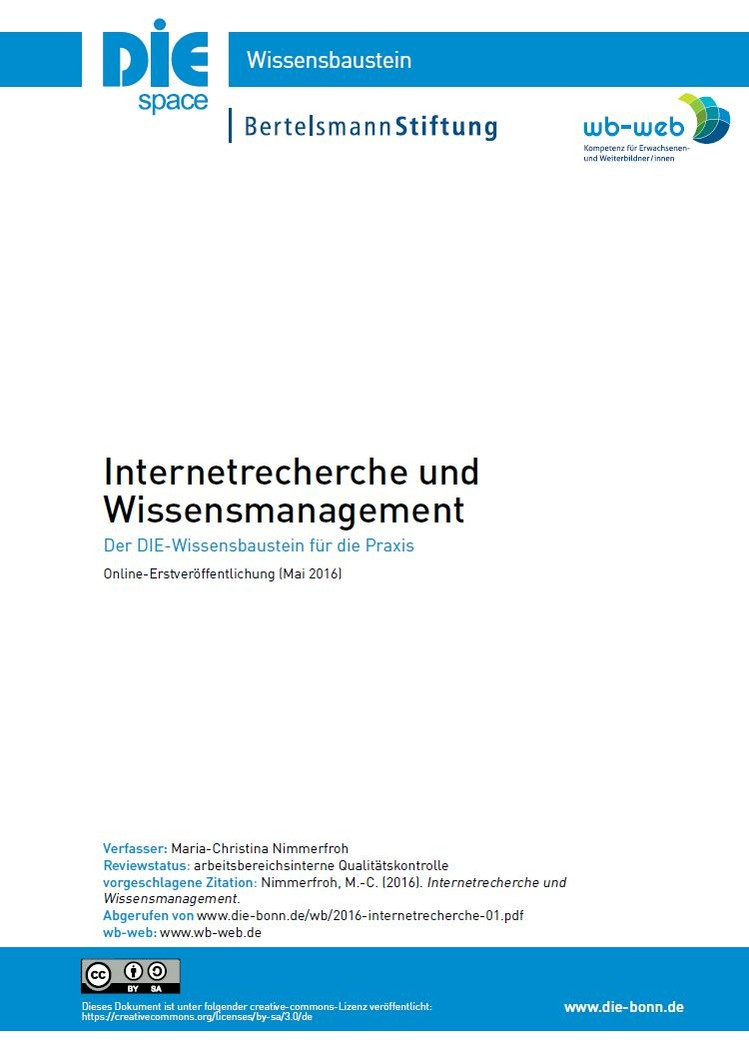 Download PDF: Wissensbaustein INternetrecherche und Wissensmanagement