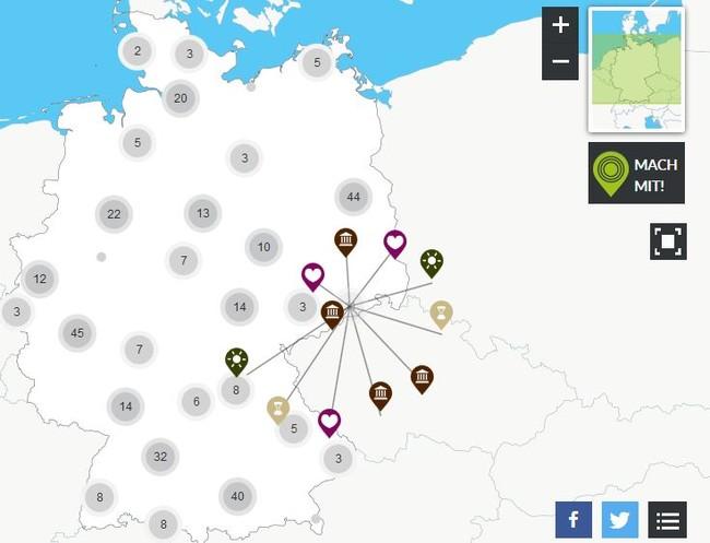 Screenshot einer interaktiven Deutschland-Karte von der Website meinort.goethe.de