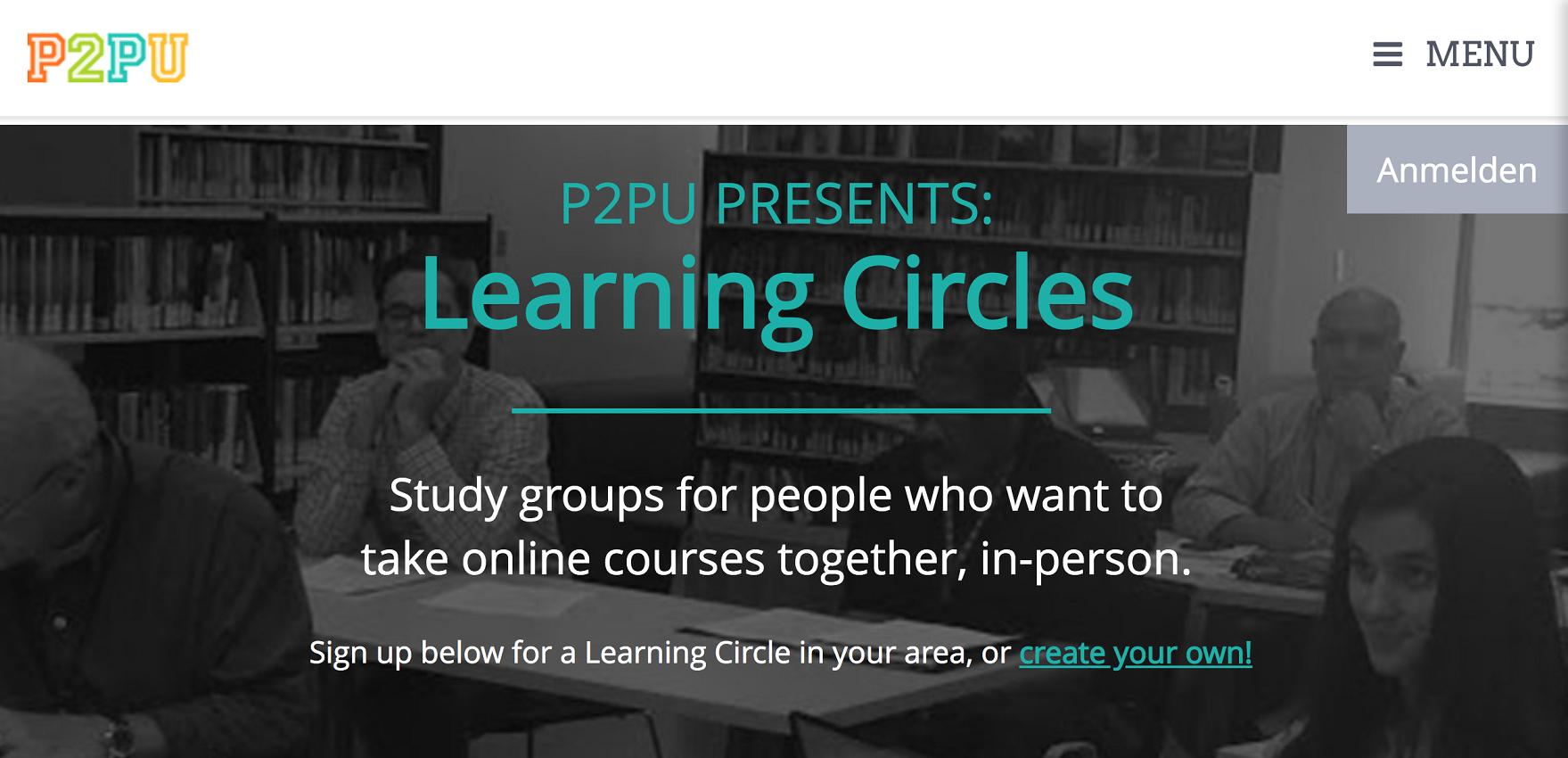 Screenshot der Website der Peer to Peer University