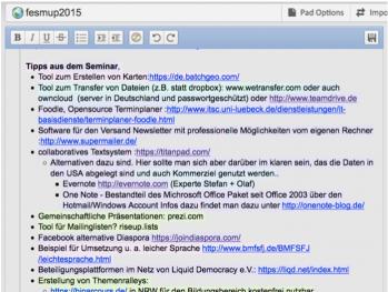 Seite aus einem Etherpad: Text in verschiedenen Farben