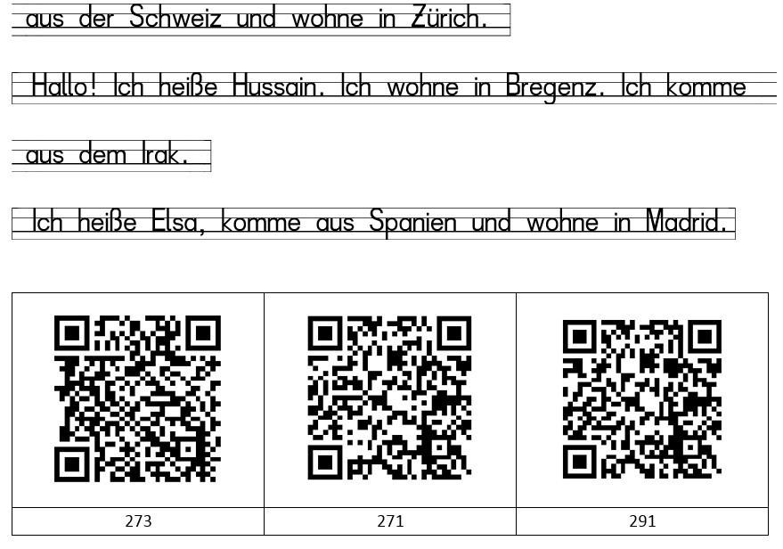 Arbeitsblatt mit Text und QR-Code