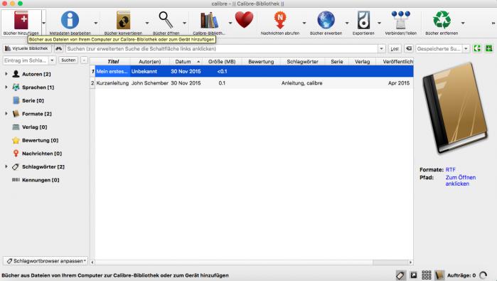 Screenshot Calibre, Buch hinzufügen