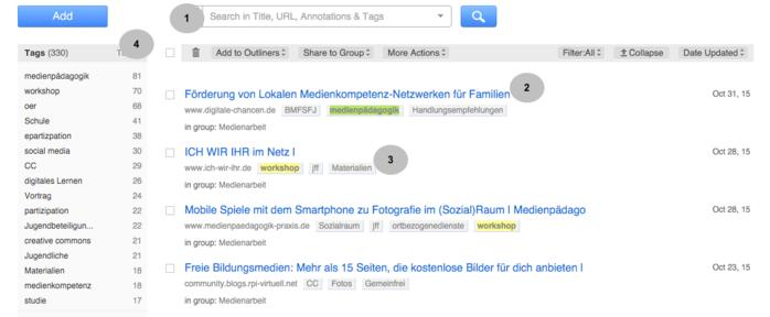 Screenshot Diigo in der gesamten Ansicht) (1) Suchfeld, (2) Link, (3) Schlagwörter, (4) Liste der Schlagwörter