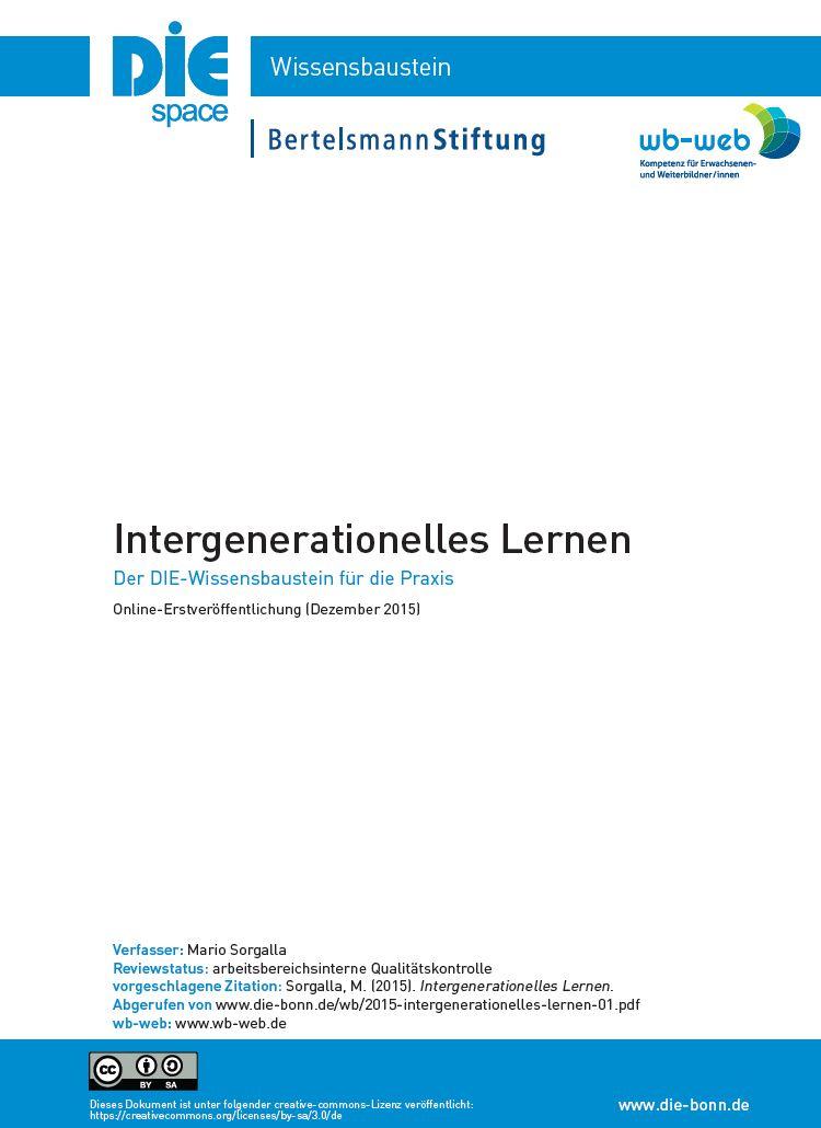 Download des Wissensbausteins Intergenerationelles Lernen