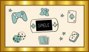 """Das Bild zeigt einen goldenen Rahmen, in dem verschiedene Piktogramme um den Begriff """"Spiele"""" herumgruppiert sind, wie zum  Beispiel eine Spielkarte, ein Würfel, Spielfiguren, eine Gamekontroler usw."""
