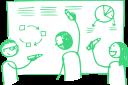 Das Bild zeigt drei gezeichnete Personen, die vor einem Flipchart stehen und gemeinsam daran arbeiten.