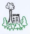 Das Bild zeigt eine gezeichnete Fabrik, die von grünen Bäumen umgeben ist.