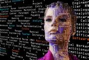 Das Bild zeigt das Gesicht einer Frau überdeckt von einer Computerplatine, im HIntergrund Stichworte aus dem Bereich Arbeit und Beruf