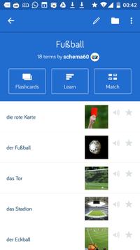 Screenshot der App Quizlet zum Vokabelüben