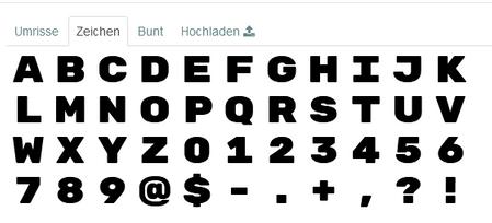 Das Bild zeigt die Auswahl einfarbiger Buchstaben und Ziffern zur Auswahl.