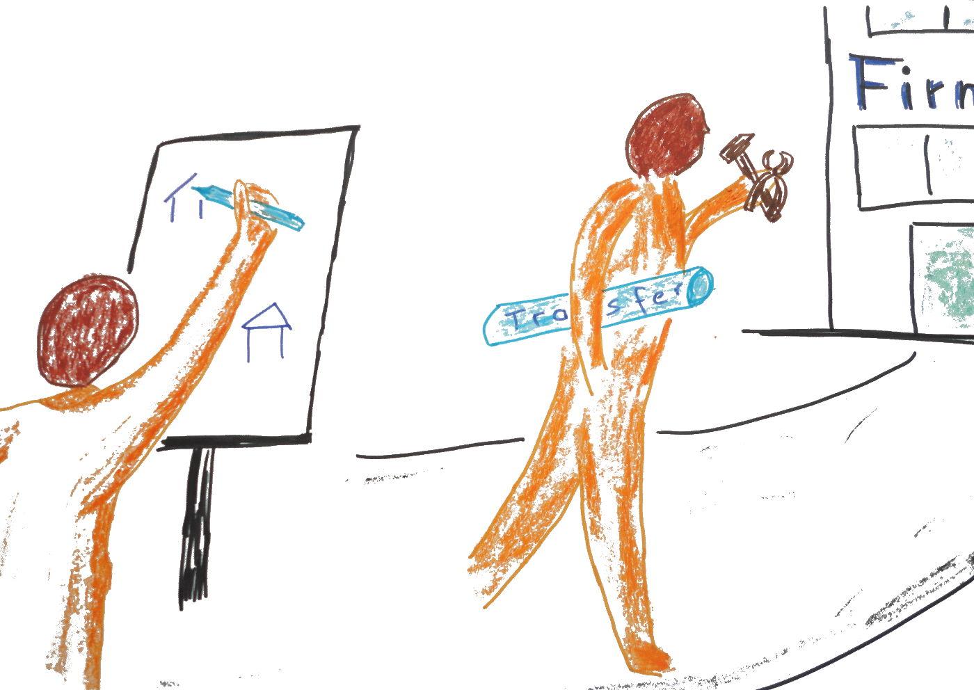Zeichnung zwei Menschen, einer läuft mit einer Papierrolle auf dem Transfer steht in die Firma, der andere malt das Bild.