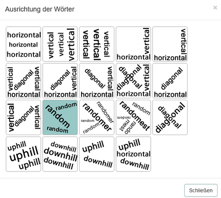 Das Bild zeigt die Auswahl der möglichen Ausrichtungen der Wörter.
