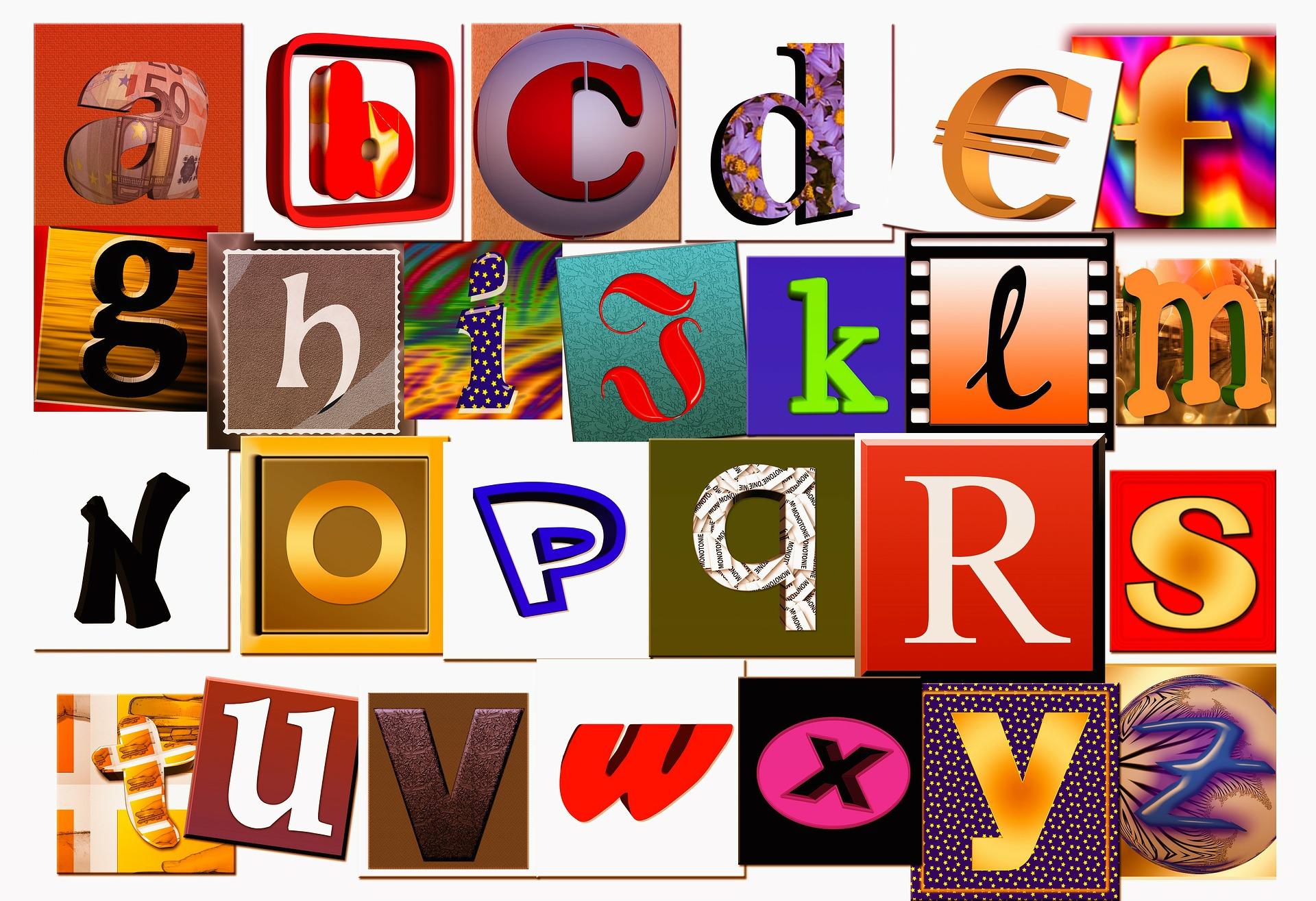 Das Bild zeigt Buchstaben.