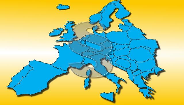 Europakarte mit Paragraphensymbol