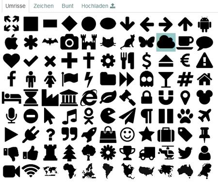 Das Bild zeigt die Auswahl an einfarbigen Umrissen.
