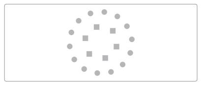 Grafik: Kreis aus Punkten darin Kreis aus Vierecken